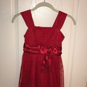 Sequin Hearts Girls red sparkly party dress sz 8
